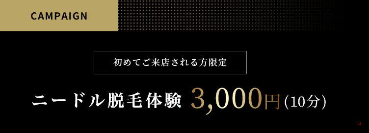 特集脱毛キャンペーン:初めてご来店される方限定ニードル脱毛体験¥3,000円(10分)